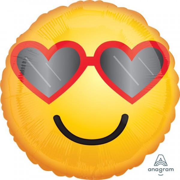 Ballon Hélium 45 cm Emoji Lunette avec Coeur – Popevents 6a1ec095d037